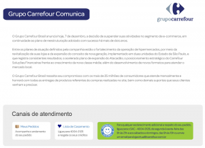 Aviso E-commerce Carrefour